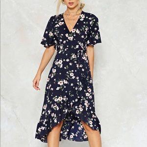 NASTY GAL blue floral wrap dress, NWT! Size M
